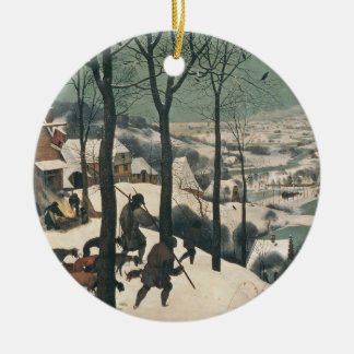 Hunters in the Snow - January, 1565 Round Ceramic Decoration