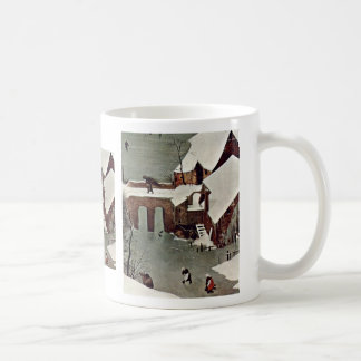 Hunters In The Snow (Month Of January) By Bruegel Basic White Mug