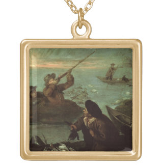 Hunters Shooting at Ducks (oil on canvas) Gold Plated Necklace