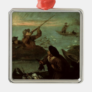 Hunters Shooting at Ducks (oil on canvas) Silver-Colored Square Decoration