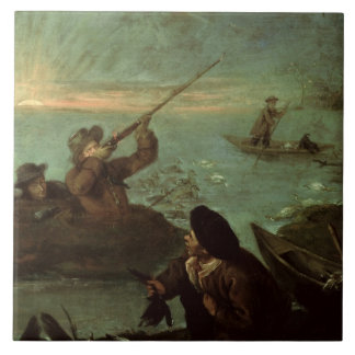 Hunters Shooting at Ducks (oil on canvas) Tile