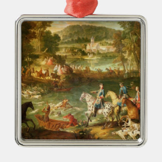 Hunting at the Saint-Jean Pond in the Forest Silver-Colored Square Decoration