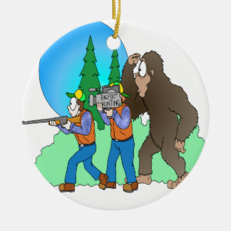 Hunting Bigfoot Double-Sided Ceramic Round Christmas Ornament