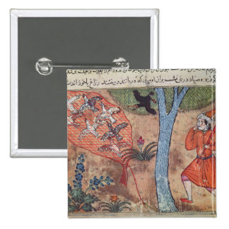 Hunting Birds, from 'The Book of Kalila and 15 Cm Square Badge