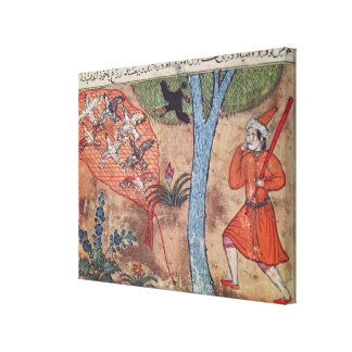 Hunting Birds, from 'The Book of Kalila and Canvas Print