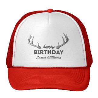 Hunting Birthday Cake Custom Name on Hat Antlers