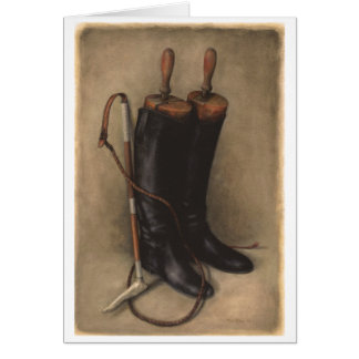 Hunting Boots Whip Greeting Cards
