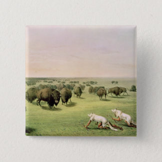 Hunting Buffalo Camouflaged 15 Cm Square Badge