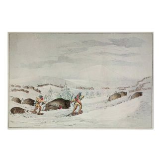 Hunting buffalo on snow-shoes poster