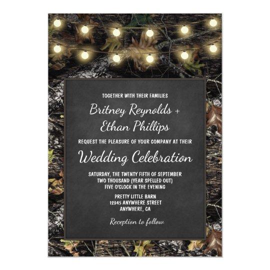 Hunting Camo Chalkboard Rustic Wedding Invitations