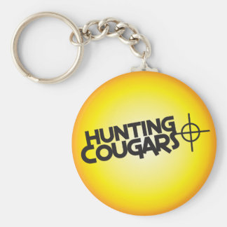 hunting cougars on a square bullseye target basic round button key ring