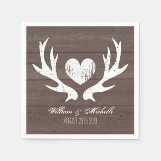 Hunting country chic deer antler wedding napkins paper napkins