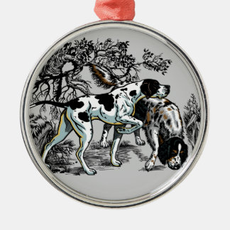 hunting dogs christmas ornament