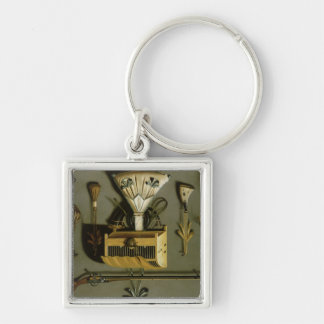 Hunting Equipment Silver-Colored Square Key Ring