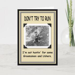 Funny usher gifts gift ideas zazzle uk hunting for groomsman usher invitation stopboris Images