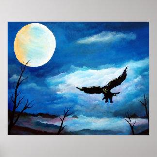 Hunting Hawk Night Moon Poster