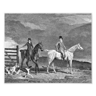 Hunting Horses and Dogs Illustration Photo Art
