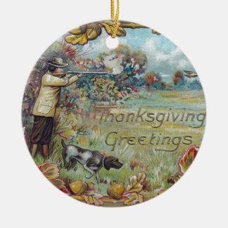 Hunting in Autumn Vintage Thanksgiving Round Ceramic Decoration