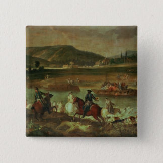 Hunting in the Forest at Compiegne 15 Cm Square Badge