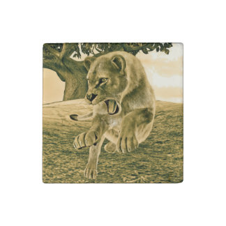 Hunting Lioness Stone Magnet