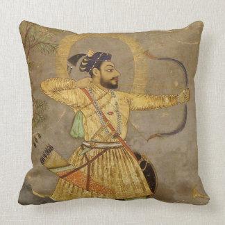 Hunting Maharaja Gold/Taupe Mughal Throw Pillow