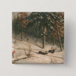 Hunting Moose 15 Cm Square Badge