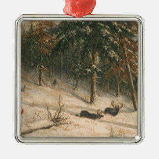 Hunting Moose Christmas Ornament
