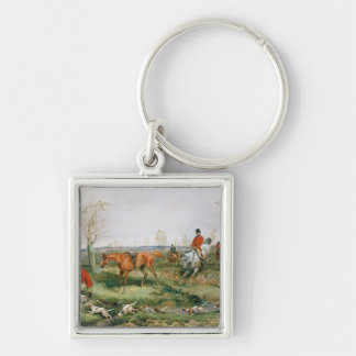 Hunting Scene Silver-Colored Square Key Ring