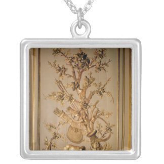 Hunting scene, wood panelling from dining room silver plated necklace