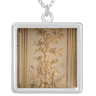 Hunting scene, wood panelling  from dining silver plated necklace