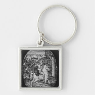 Hunting Silver-Colored Square Key Ring