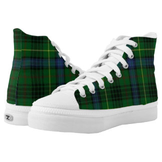 Hunting Stuart Scottish Tartan Plaid High-Top Printed Shoes