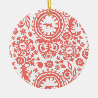 HUNTING WEIMARANER RED FLORAL ORNAMENT