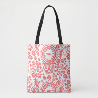HUNTING WEIMARANER RED FLORAL TOTE BAG