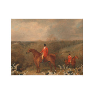 Hunting With Dogs and Horse Famous Oil Painting Canvas Print