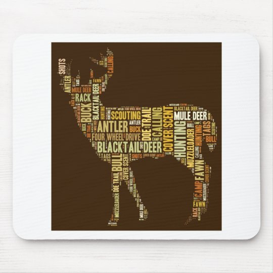 Hunting Word Cloud Mouse Mat
