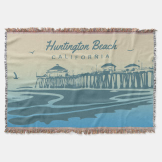 Huntington Beach Pier, CA - Custom Illustration Throw Blanket