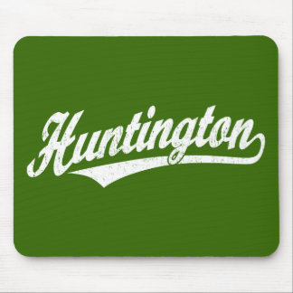 Huntington script logo in white distressed mouse pad