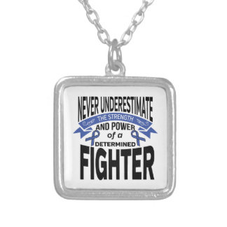 Huntington's Disease Determined Fighter Square Pendant Necklace