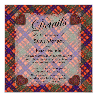 "Huntly Scottish clan tartan - Plaid 5.25"" Square Invitation Card"