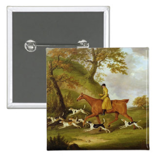 Huntsman and Hounds, 1809 (oil on canvas) 15 Cm Square Badge