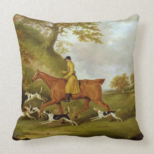 Huntsman and Hounds, 1809 (oil on canvas) Throw Pillows