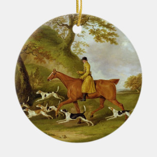 Huntsman and Hounds, 1809 (oil on canvas) Round Ceramic Decoration