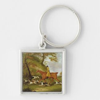 Huntsman and Hounds, 1809 (oil on canvas) Silver-Colored Square Key Ring
