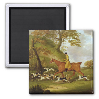 Huntsman and Hounds, 1809 (oil on canvas) Square Magnet