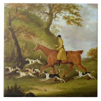 Huntsman and Hounds, 1809 (oil on canvas) Large Square Tile