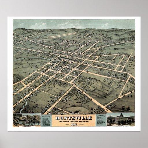 Huntsville, AL Panoramic Map - 1871 Poster