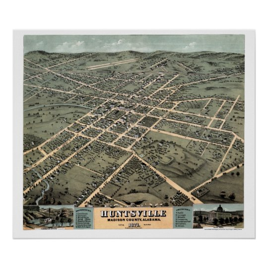 Huntsville, AL Panoramic Map - 1871 Poster