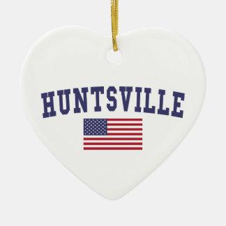 Huntsville AL US Flag Christmas Ornament