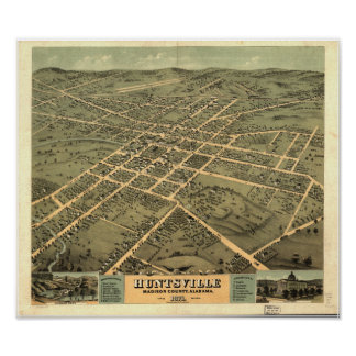 Huntsville Alabama 1871 Panoramic Map Poster